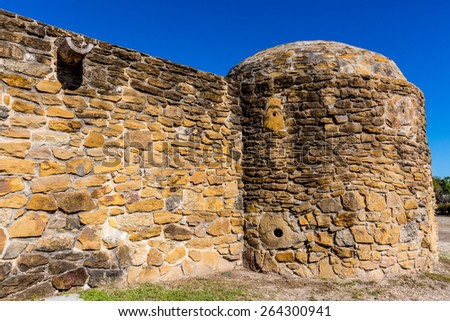 The Historic Old West Spanish Mission San Jose, Founded in 1720, San Antonio, Texas, USA.  Part of a National Park System preserving historic missions. - stock photo