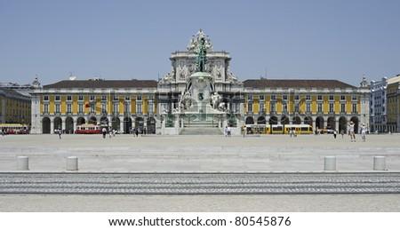 "The historic place ""Praca Comercio"" of Lisbon in Portugal - stock photo"