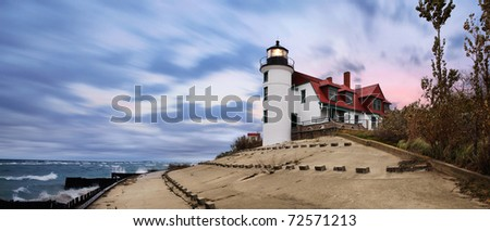 The Historic Point Betsie Lighthouse On A Stormy Lake Michigan Morning Before Sunrise, Michigan's Lower Peninsula, USA - stock photo