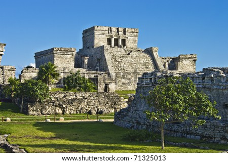 the historic ruins of the ancient mayan city of tulum, mexico. - stock photo