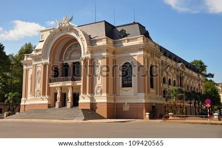 The historic Saigon Opera House in Dong Khoi Street, Ho Chi Minh City, Vietnam. - stock photo