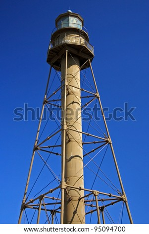 The historic Sanibel Island Lighthouse in South Florida - stock photo