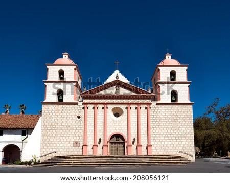 The historic Santa Barbara Spanish Mission in California, USA - stock photo