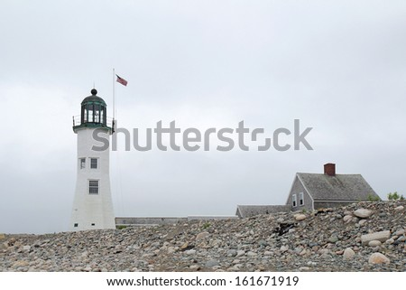 The historic Scituate Light was built in 1811 and is the 11th oldest lighthouse in the United States - stock photo