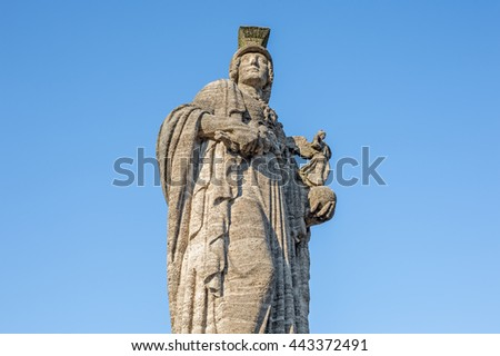 """The historic statue of the goddess """"Athene"""" in Munich in Bavaria - stock photo"""
