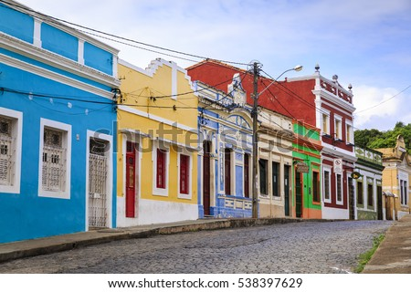 The historic streets of Olinda in Pernambuco, Brazil with its cobblestones and buildings dated from the 17th century when Brazil was a Portuguese colony.