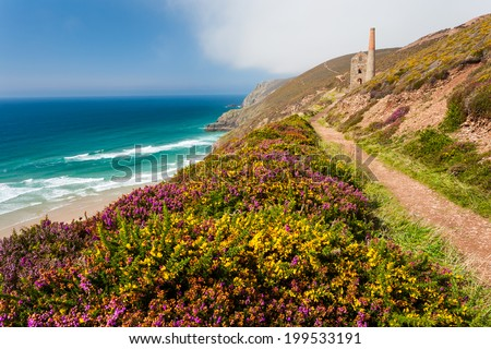 The historic Towanroath Engine House at Wheal Coates near St Agnes Cornwall England UK Europe - stock photo