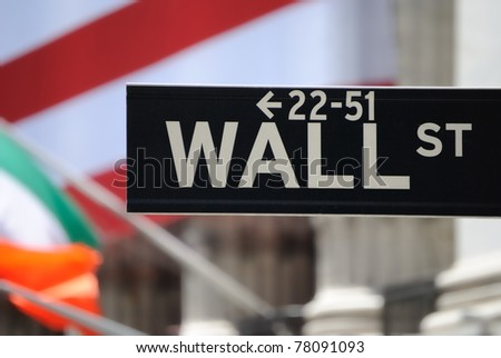 The historic Wall Street in New York York City. - stock photo