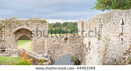 The historic walls by Leeds castle, England, Europe - stock photo