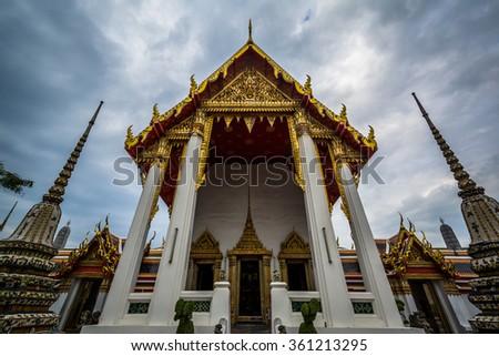 The historic Wat Pho Buddhist temple, in Bangkok, Thailand. - stock photo