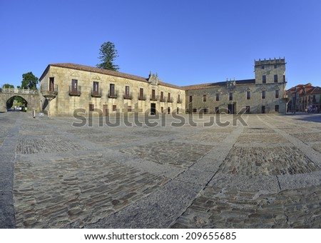 The historical and monumental center of the capital of Albarino wine, Cambados, Fefinanes Square - stock photo