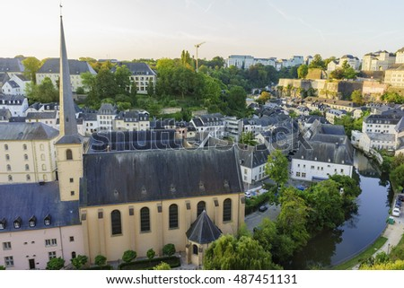 The historical beautiful and superb view of the Grund, Luxembourg at sun rise