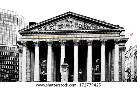 The historical building of the Bank of England, London, UK - stock photo