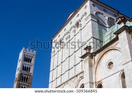 the historical center of Lucca medieval city tuscany italy