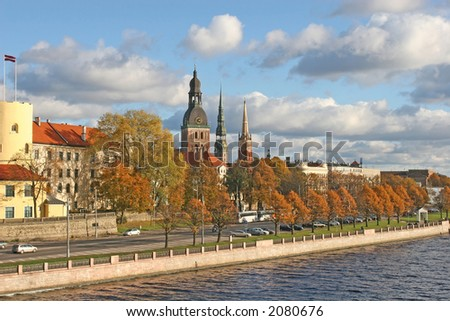 The historical center of the Riga city (Latvia, Europe).  Picture taken from the bridge - stock photo