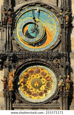 The historical medieval astronomical Clock in Prague on Old Town Hall , Czech Republic - stock photo