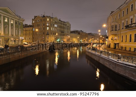 The historical part of St. Petersburg, Russia, at night