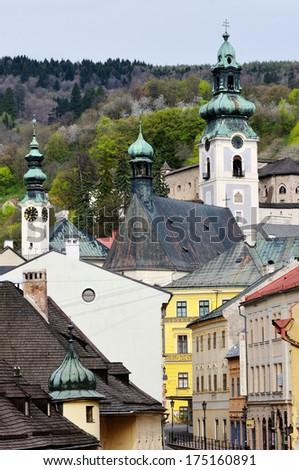 The historical part of the town of Banska Stiavnica, Slovakia - stock photo