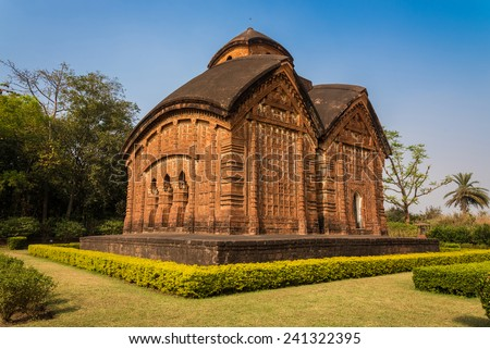 The historically famous Jorbangla temple in Bishnupur established in 17th century - stock photo