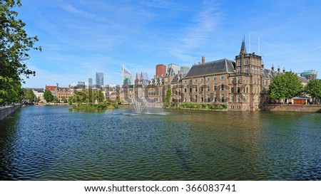 The Hofvijver Pond (Court Pond) with the Binnenhof complex in The Hague, Netherlands - stock photo