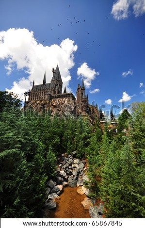 the Hogwarts Castle at the Universal Orlando Resort, Orlando, FL - stock photo