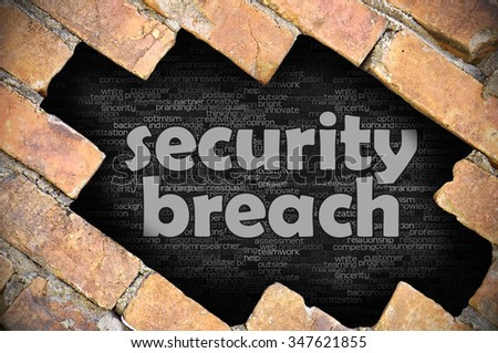 The hole in the brick wall with word security breach - stock photo