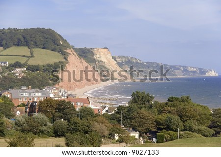 The holiday resort of sidmouth on the  jurassic coast  devon england.
