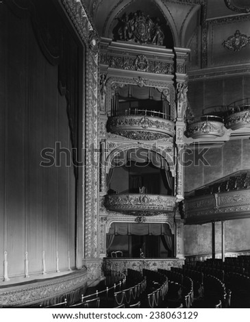 The Hollis Street Theater, auditorium and balconies, constructed in 1885, photograph by Arthur C. Haskell, Hollis Street, Boston, Massacusetts, ca 1935.