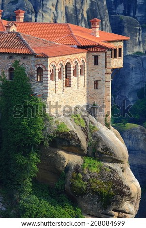 The holly monastery of Varlaam surrounded by rocks, Meteora, Greece - stock photo
