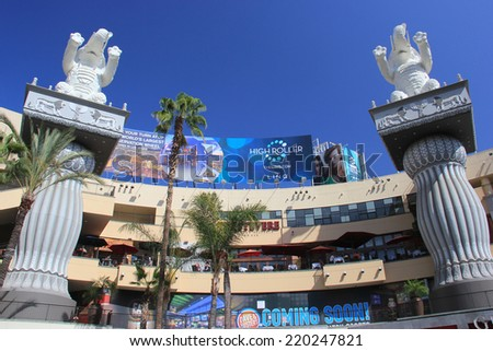 The Hollywood and Highland Center is a shopping mall and entertainment complex at Hollywood Boulevard and Highland Avenue in the Hollywood district in Los Angeles on May 19, 2014 - stock photo