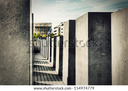 The Holocaust Memorial, Berlin, Germany. Memorial to the Murdered Jews of Europe - stock photo