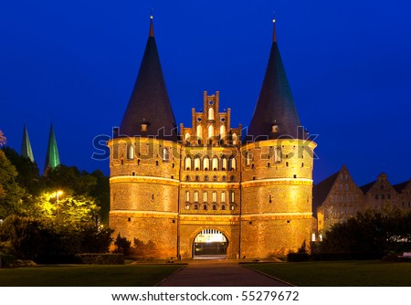 The Holsten Gate in Lubeck, Germany. - stock photo
