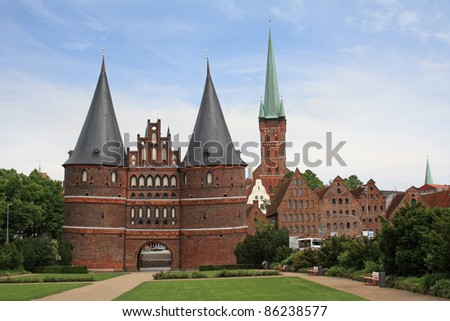 The Holsten Gate in Luebeck in Germany - stock photo