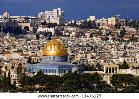 The holy city Jerusalem from Israel - stock photo