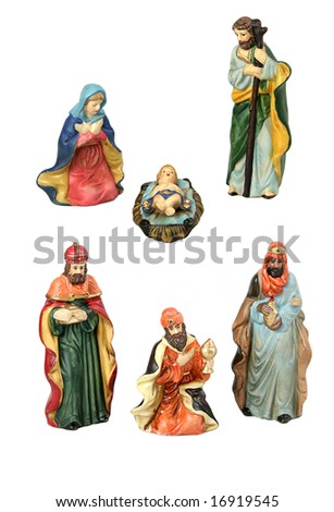 The Holy Family and the three wise men from the nativity, each isolated as design elements over white background. - stock photo