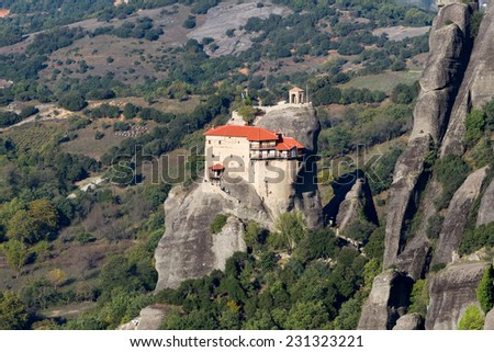 The Holy Monastery of St. Nicholas Anapausas, built in the 16th century, has a small church, decorated by the noted Cretan painter Theophanis Strelitzas, in 1527. Meteora, Greece - stock photo