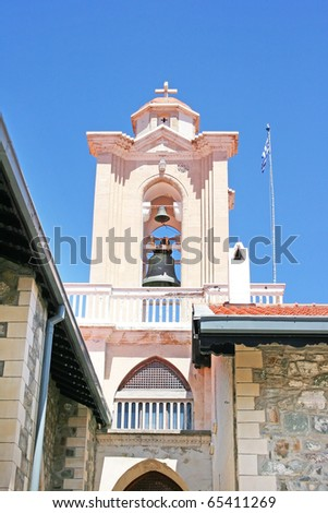 The Holy Monastery of the Virgin of Kykkos in Troodos mountains, Cyprus. The belfry. - stock photo