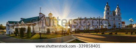 The Holy Spirit Cathedral in Minsk, Belarus is dedicated to the Holy Spirit. It is the central cathedral of the Belarusian Orthodox Church. - stock photo