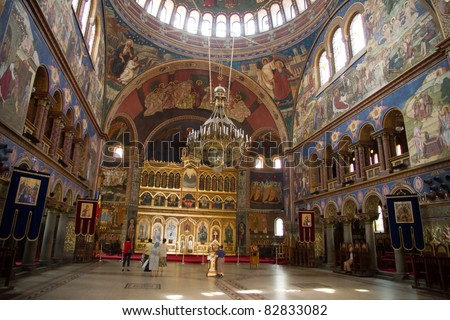The Holy Trinity Orthodox cathedral in Sibiu, Romania - stock photo