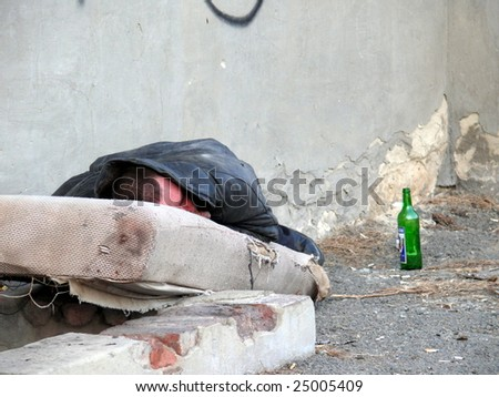 the homeless alcoholic - stock photo