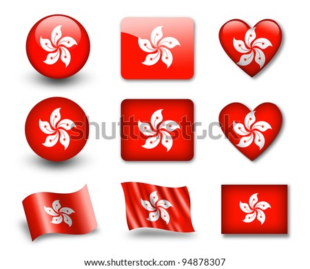 The Hong Kong flag - set of icons and flags. glossy and matte on a white background. - stock photo