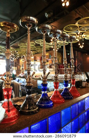 The hookah on the bar counter in a cafe - stock photo