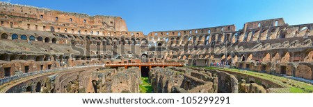 The horizontal panorama of ancient famous Rome Coliseum. Italy. - stock photo