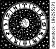 The Horoscope circle with  Zodiac signs and constellations of the zodiac.Inside the symbol of the sun and moon.Retro style.Black and white colors, illustration - stock photo