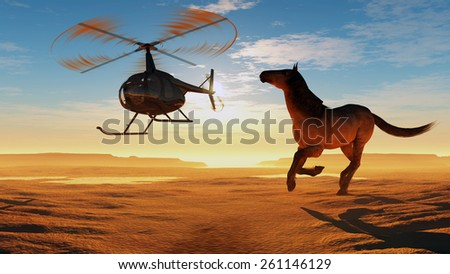 The  horse and a helicopter in the desert. - stock photo