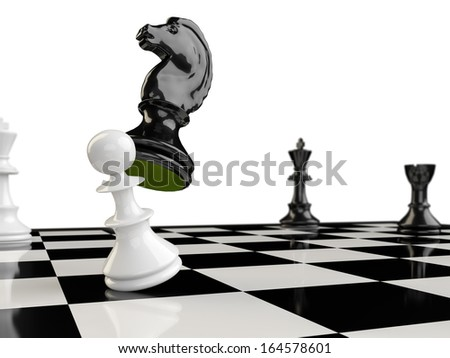 The horse eats the pawn knocking him to the ground, in the background appear the two kings and a tower - stock photo