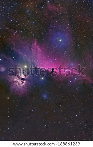 The Horse Head and Flame Nebula Imaged in Hydrogen Alpha and Color - stock photo