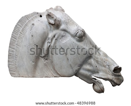 The Horse of Selene from the Parthenon in Athens isolated on white with clipping path - stock photo