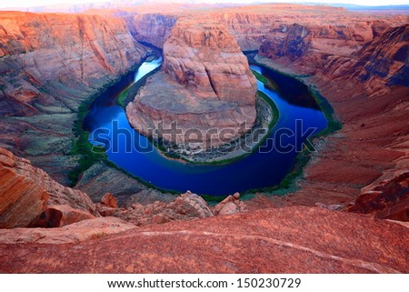 The horseshoe bend near Page, Arizona - stock photo
