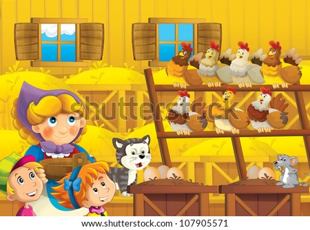 The hostess in the happy chicken coop for eggs with smiling kids and the cat - bright illustration for children - educational